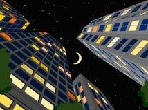 Night city. Modern city in the summer night, cartoon illustrations Royalty Free Stock Photos