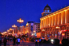 Night City. The night scene of street is in Manzhouli City which is in Sino-Russia frontier stock photos
