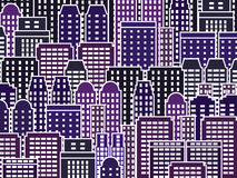Night city. Simple city illustration - skyscrapers and modern buildings. Contemporary metropolis and urban landscape Stock Photo