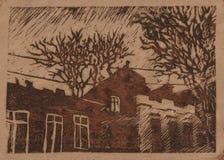 Night city. Linocut craft art vector illustration