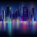 Night city. Abstract decorative night city design Stock Images