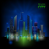Night city. Abstract decorative night city design Stock Photography