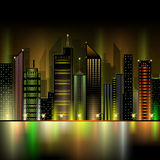 Night city. Abstract decorative night city neon Stock Images
