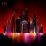 Night city. Abstract decorative night city neon Royalty Free Stock Photography