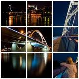 Night city. Slovak capital city Bratislava in night (document Stock Photography