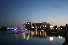 Night city. Viev at river at Astana city at night Stock Photo