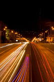 Night city. Night highway in Almaty, Kazakhstan royalty free stock photo