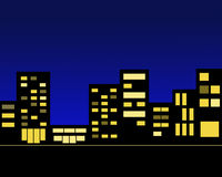 Night city. Picture silhouettes of the night city buildings shine windows Stock Photos