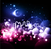 Night city abstract background. Abstract background night city lights bokeh - vector vector illustration
