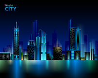Night city. Abstract decorative modern night city Royalty Free Stock Photos