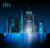 Night city. Abstract decorative neon night city Royalty Free Stock Photography