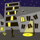 Night city. Abstract night city scene with building and star sky Stock Illustration