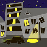 Night city. Abstract night city scene with building and star sky Stock Image