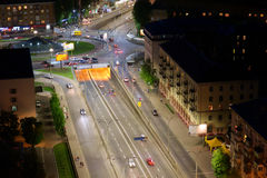 Night city aerial view, Kyiv, Ukraine Royalty Free Stock Photos