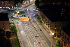 Night city aerial view, Kyiv, Ukraine Royalty Free Stock Photos