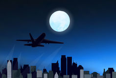 Night city with airplane Stock Photography