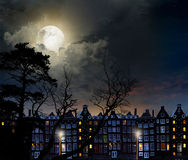 Night city Amsterdam. Night scene in the moonlight, in the lights of the city Stock Image