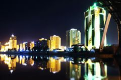 NIGHT CITY. Astana is beautiful city. It is capital city of KAZAKAHSTAN royalty free stock photo