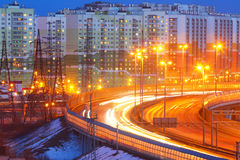 Night city. Automobile traffic. St. Petersburg. Russia. Bypass road. Royalty Free Stock Photography