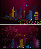 Night city background. Two version night city background.created by Adove Illustrator cs Stock Image