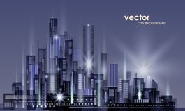 Night city background, illustration with architecture, skyscrapers, megapolis, buildings downtown. Night city background, with glowing lights, illustration with royalty free illustration