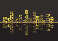 Night city background. Illustration of the city's nightlife Royalty Free Stock Photo