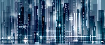 Night city background. With glowing lights,  illustration Royalty Free Stock Photos