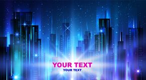 Night city background. With glowing lights,  illustration Royalty Free Stock Photo