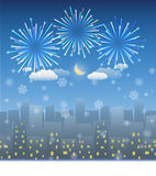 Night city background with snow and firework Royalty Free Stock Photos