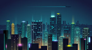 Night city background. In vector Stock Photo
