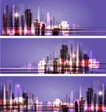 Night city background, vector illustration Royalty Free Stock Photo