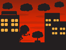 Night city and badman cartoon Royalty Free Stock Photography