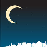 Night in the city of Bari. Illustration of night time in the italian city of Bari, in silhouette Stock Photos