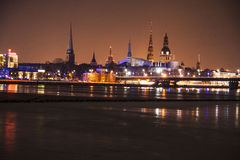 Night city. Beautiful night city in a cold winter day Stock Images