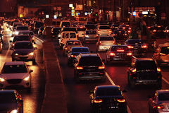 Night city with blur cars. Night city background with blur cars Stock Photography