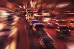 Night city with blur motion cars. Night city background with blur motion cars Royalty Free Stock Photos