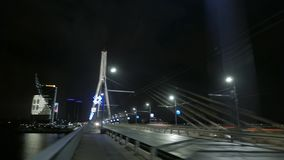 Night city and bridge in fog. Riga, Latvia. December 2016. 4K UHD hyperlapse. Native video stock video