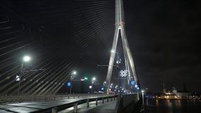 Night city and bridge in fog. Riga, Latvia. December 2016. 4K UHD. Native video stock video