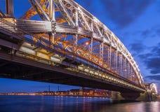 Night city bridge in lights in Saint Petersburg Royalty Free Stock Image