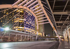 Night city of bridge with sky walk background.Chong Nonsi BTS St Stock Photography