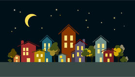 Night city houses  with trees, moon and stars. Vector illustration of night city houses and trees in different colors. Moon and stars background Stock Photos