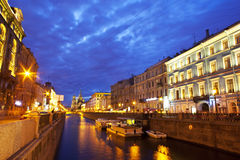 Night city. Canals of St. Petersburg Stock Photography