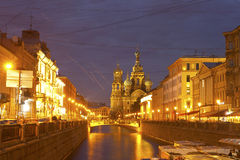 Night city. Canals of St. Petersburg Stock Images