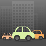 Night city with car. Vector Illustration Royalty Free Stock Image