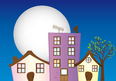 Night city cartoon Royalty Free Stock Images