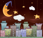 Night city cartoon Royalty Free Stock Photo