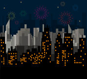 Night City celebrates vector. Night City celebrates New Year fireworks display color.City lights Christmas night. Holidays concept Stock Image