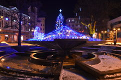 Night city. Christmas night city ivano-Frankivsk Ukraine Royalty Free Stock Photography