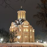 Church in the winter. Night city stock images