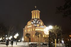 Church in the winter. Night city royalty free stock photos